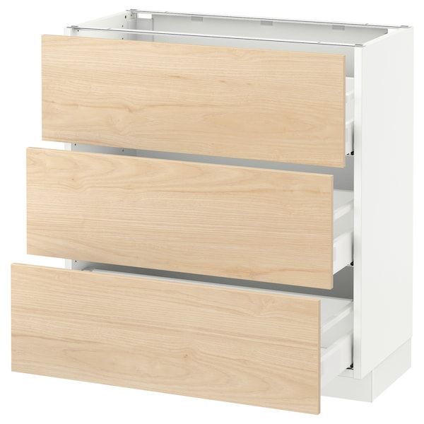 "SEKTION Base cabinet with 3 drawers, white Maximera/Askersund light ash effect, 30x15x30 """
