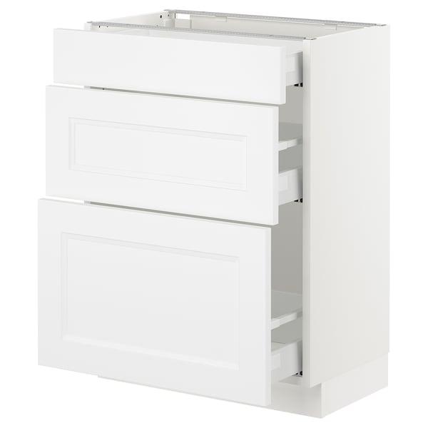 "SEKTION Base cabinet with 3 drawers, white Maximera/Axstad matt white, 24x15x30 """