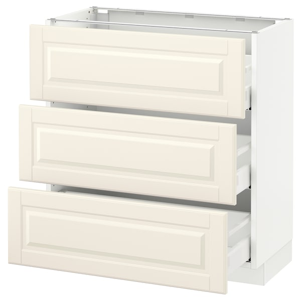 "SEKTION Base cabinet with 3 drawers, white Maximera/Bodbyn off-white, 30x15x30 """
