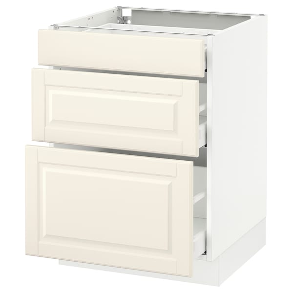 "SEKTION Base cabinet with 3 drawers, white Maximera/Bodbyn off-white, 24x24x30 """