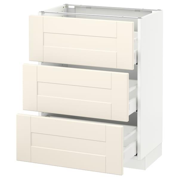 "SEKTION Base cabinet with 3 drawers, white Maximera/Grimslöv off-white, 24x15x30 """