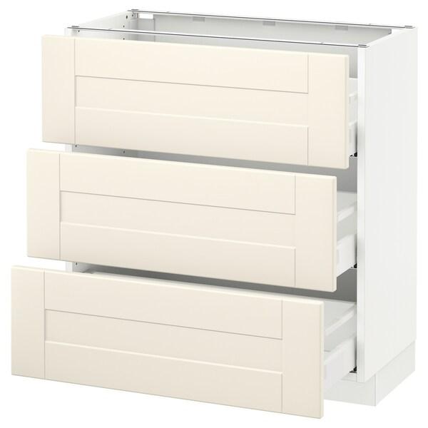 "SEKTION Base cabinet with 3 drawers, white Maximera/Grimslöv off-white, 30x15x30 """
