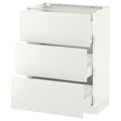 "SEKTION Base cabinet with 3 drawers, white Maximera/Häggeby white, 24x15x30 """