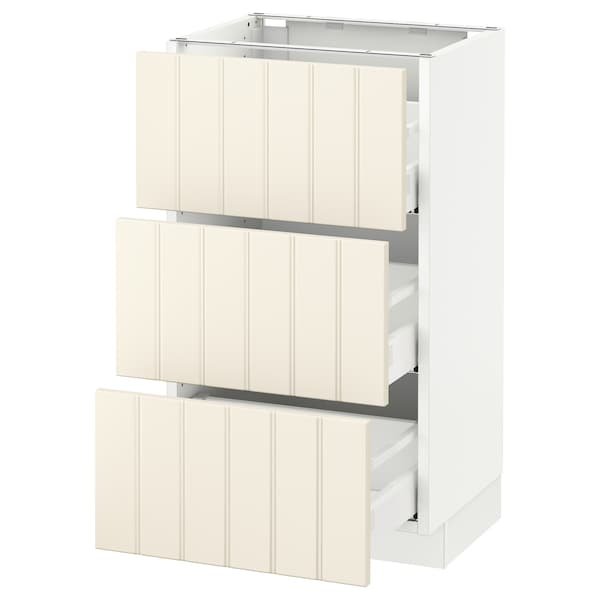 SEKTION Base cabinet with 3 drawers, white Maximera/Hittarp off-white, 18x15x30 ""