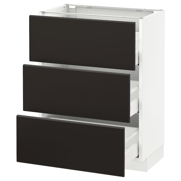 """SEKTION Base cabinet with 3 drawers, white Maximera/Kungsbacka anthracite, 24x15x30 """""""