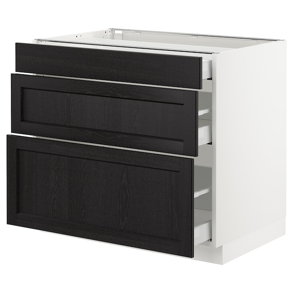 """SEKTION Base cabinet with 3 drawers, white Maximera/Lerhyttan black stained, 36x24x30 """""""