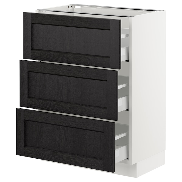 """SEKTION Base cabinet with 3 drawers, white Maximera/Lerhyttan black stained, 24x15x30 """""""