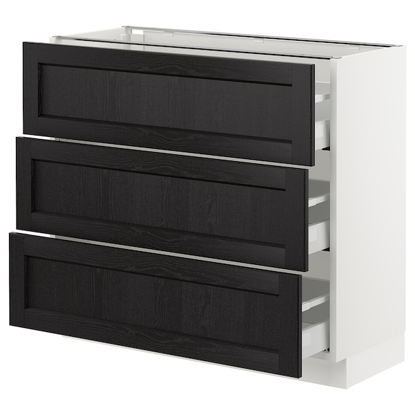 """SEKTION Base cabinet with 3 drawers, white Maximera/Lerhyttan black stained, 36x15x30 """""""