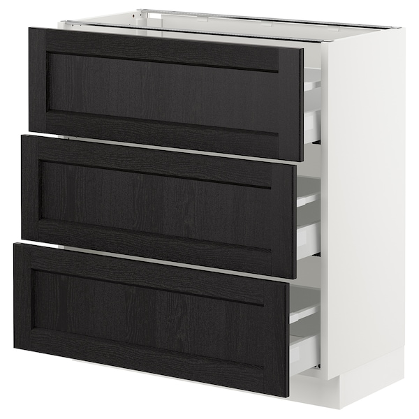 """SEKTION Base cabinet with 3 drawers, white Maximera/Lerhyttan black stained, 30x15x30 """""""
