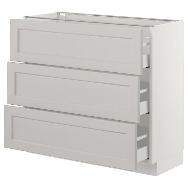 "SEKTION Base cabinet with 3 drawers, white Maximera/Lerhyttan light gray, 36x15x30 """