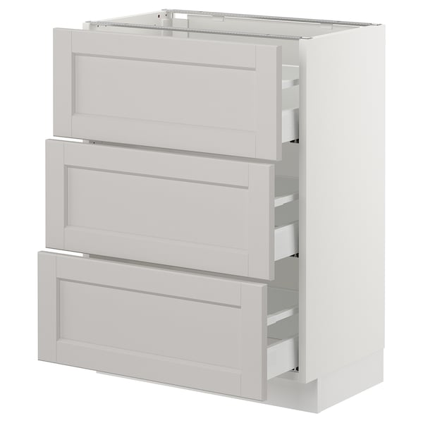 "SEKTION Base cabinet with 3 drawers, white Maximera/Lerhyttan light gray, 24x15x30 """