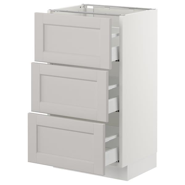 "SEKTION Base cabinet with 3 drawers, white Maximera/Lerhyttan light gray, 18x15x30 """