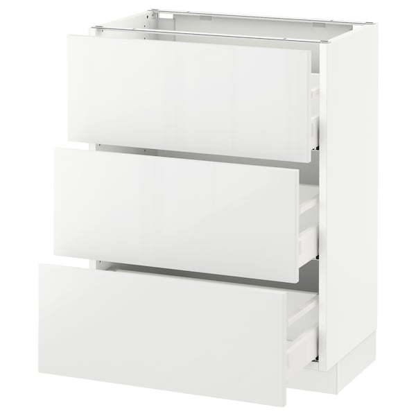 SEKTION Base cabinet with 3 drawers, white Maximera/Ringhult white, 24x15x30 ""
