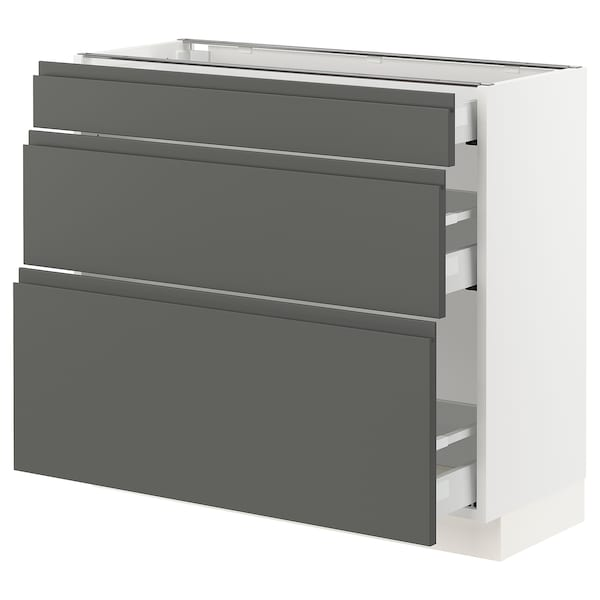 "SEKTION Base cabinet with 3 drawers, white Maximera/Voxtorp dark gray, 36x15x30 """