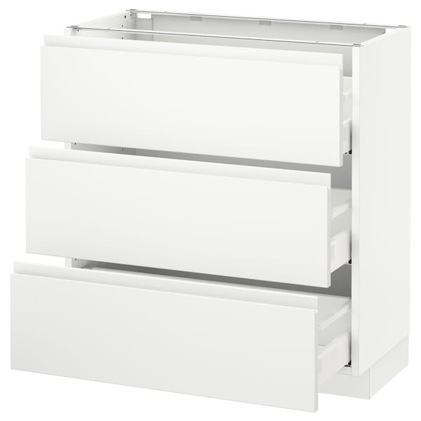 SEKTION Base cabinet with 3 drawers, white Maximera/Voxtorp matt white, 30x15x30 ""