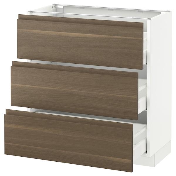 "SEKTION Base cabinet with 3 drawers, white Maximera/Voxtorp walnut, 30x15x30 """