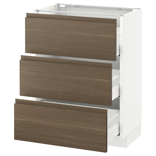 "SEKTION Base cabinet with 3 drawers, white Maximera/Voxtorp walnut, 24x15x30 """