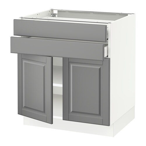 Sektion base cabinet with 2 doors 2 drawers white ma for Ikea sektion kitchen cabinets