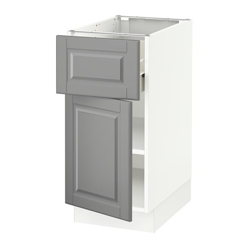 Sektion base cabinet with drawer door white f bodbyn for Ikea sektion kitchen cabinets