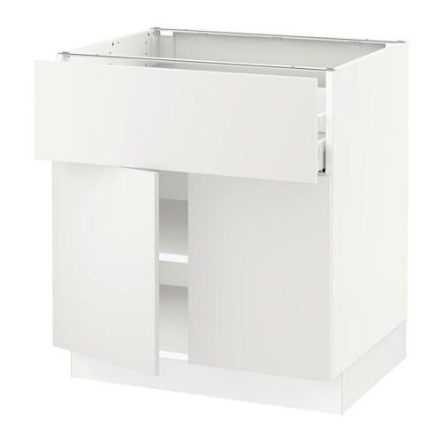 Sektion Base Cabinet With Drawer 2 Doors White Maximera Haggeby White