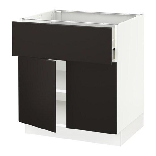 Sektion Base Cabinet With Drawer 2 Doors White Forvara Kungsbacka Anthracite