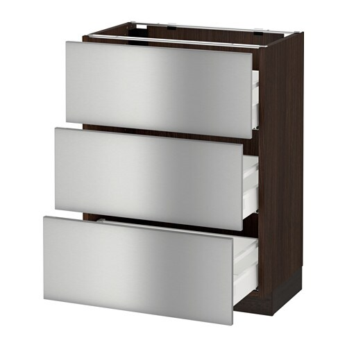 Sektion base cabinet with 3 drawers wood effect brown for Ikea metal cart with drawers