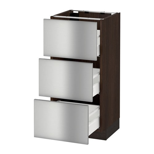 Sektion base cabinet with 3 drawers wood effect brown for Stainless steel kitchen base cabinets
