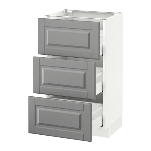 Sektion Base Cabinet With 3 Drawers White Bodbyn Gray