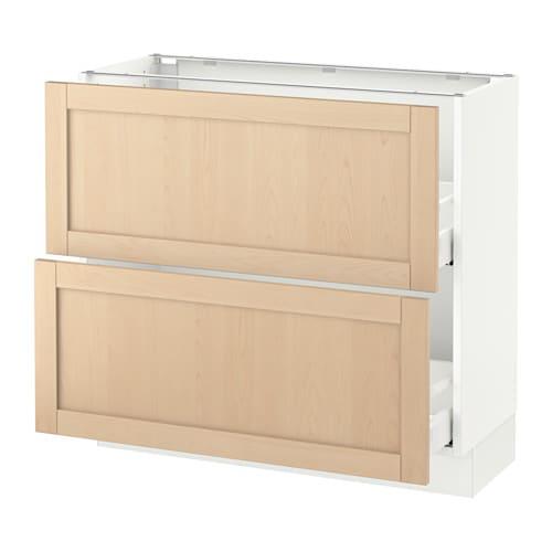 Sektion Base Cabinet With 2 Drawers White Bj Rket Birch