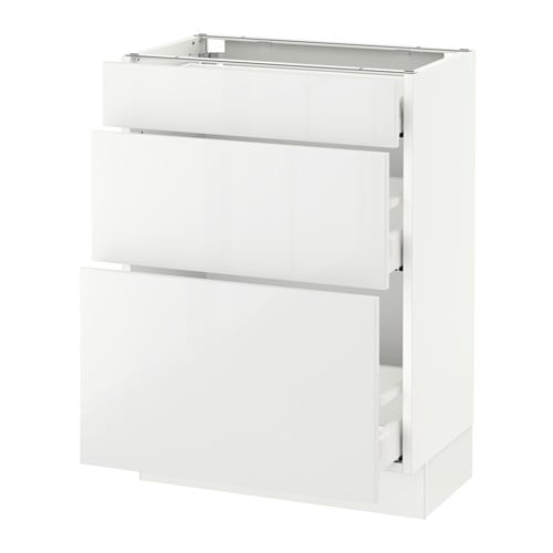 Sektion Base Cabinet With 3 Drawers White Maximera Ringhult White