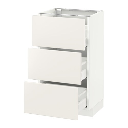Ikea Kitchen Veddinge White: SEKTION Base Cabinet With 3 Drawers