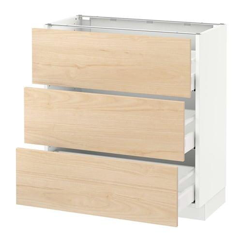 Sektion Base Cabinet With 3 Drawers Askersund Light Ash