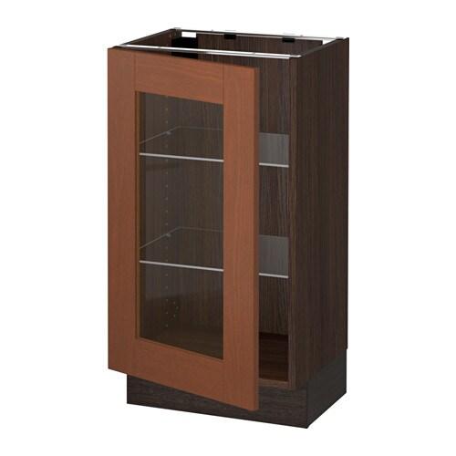 Sektion Base Cabinet With Glass Door Wood Effect Brown Grimsl V Medium Brown 18x15x30 Ikea