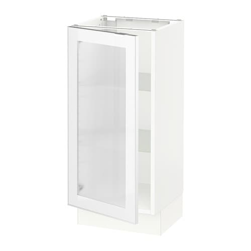 Ikea Alang Floor Lamp Nickel Plated White ~ SEKTION Base cabinet with glass door  white, Jutis frosted glass