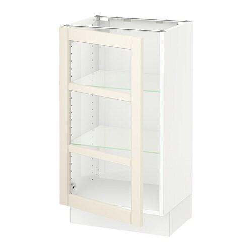 Sektion Base Cabinet With Glass Door White Hittarp Off White 18x15x30 Ikea