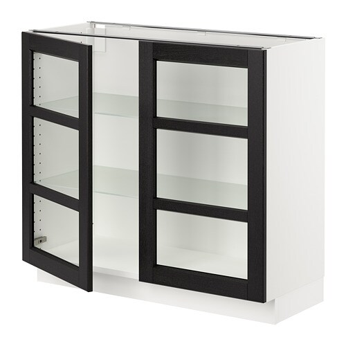 Sektion Base Cabinet With 2 Glass Doors Lerh Black Stained