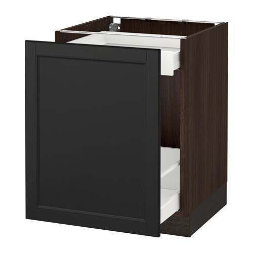 Sektion base cabinet with pull out storage wood effect brown ma laxarby black brown - Ikea pull out trash cabinet ...