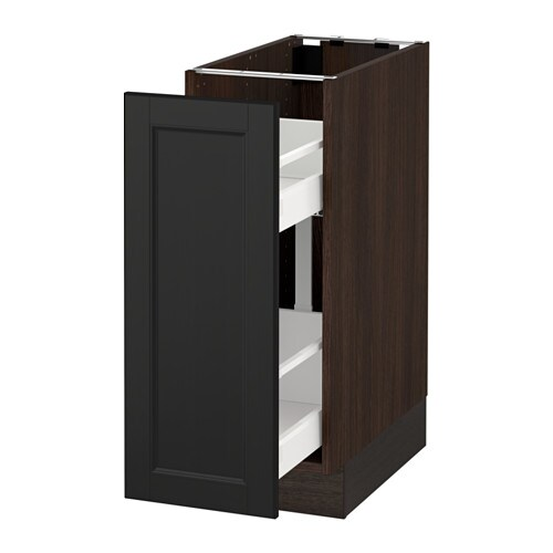 Sektion Base Cabinet With Pull Out Storage Wood Effect