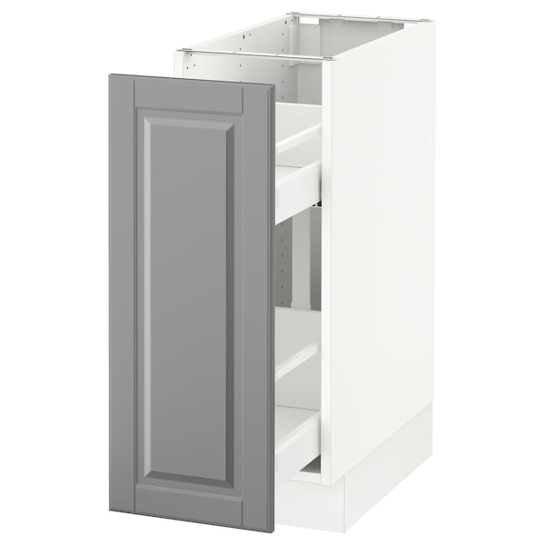 Sektion Base Cabinet With Pull Out Storage White Bodbyn Gray 12x24x30 Ikea