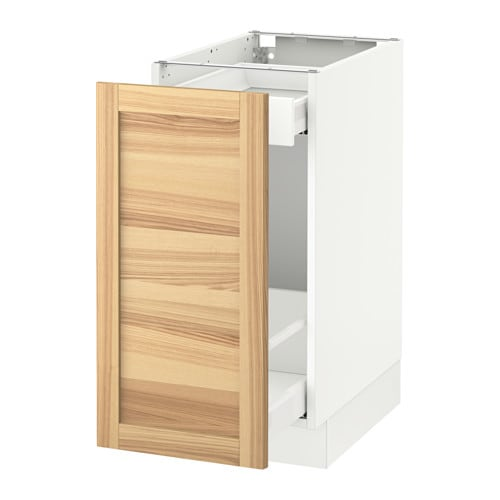 SEKTION   Base Cabinet With Pull Out Storage, White Maximera, Torhamn Ash