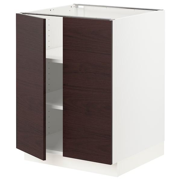 "SEKTION Base cabinet with shelves/2 doors, white Askersund/dark brown ash effect, 24x24x30 """