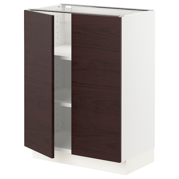 SEKTION Base cabinet with shelves/2 doors, white Askersund/dark brown ash effect, 24x15x30 ""