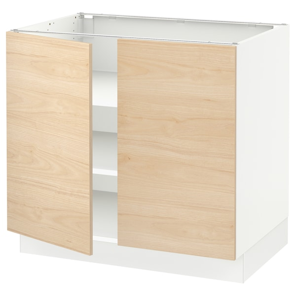 SEKTION Base cabinet with shelves/2 doors, white/Askersund light ash effect, 36x24x30 ""