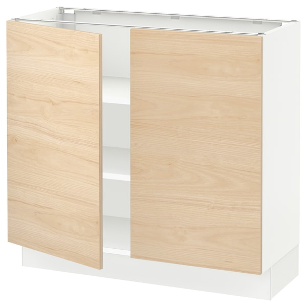 SEKTION Base cabinet with shelves/2 doors, white/Askersund light ash effect, 36x15x30 ""