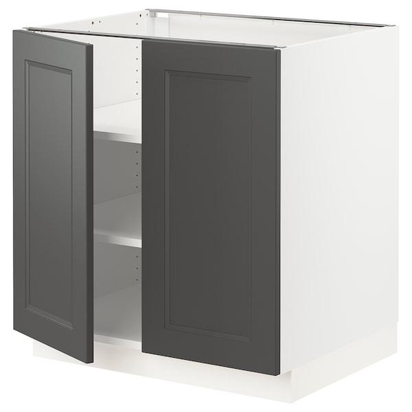 "SEKTION Base cabinet with shelves/2 doors, white/Axstad dark gray, 30x24x30 """