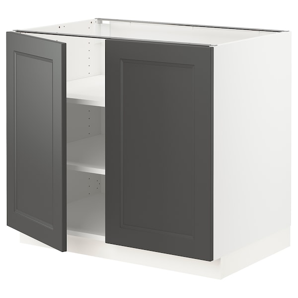"SEKTION Base cabinet with shelves/2 doors, white/Axstad dark gray, 36x24x30 """