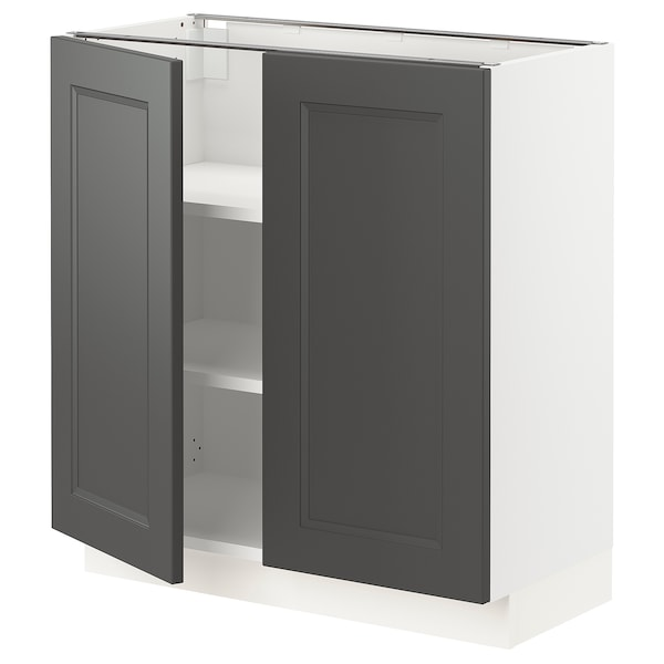 "SEKTION Base cabinet with shelves/2 doors, white/Axstad dark gray, 30x15x30 """