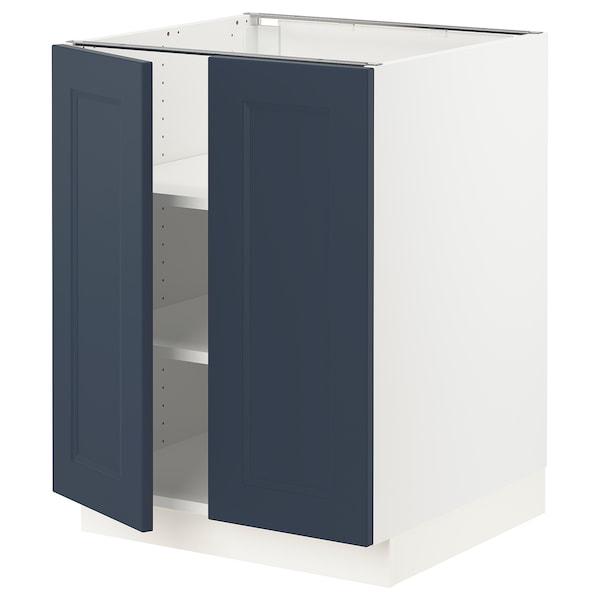 "SEKTION Base cabinet with shelves/2 doors, white Axstad/matte blue, 24x24x30 """