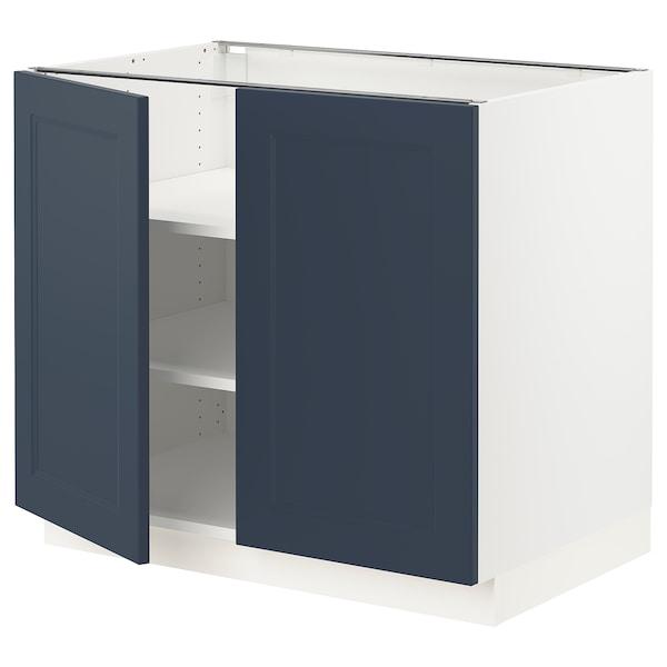 "SEKTION Base cabinet with shelves/2 doors, white Axstad/matte blue, 36x24x30 """