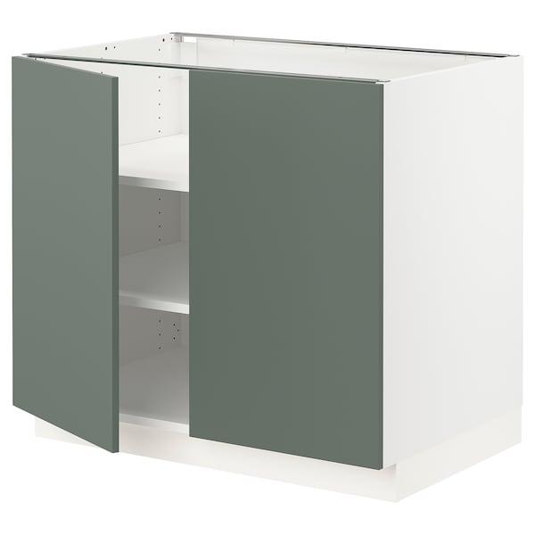 "SEKTION Base cabinet with shelves/2 doors, white/Bodarp gray-green, 36x24x30 """